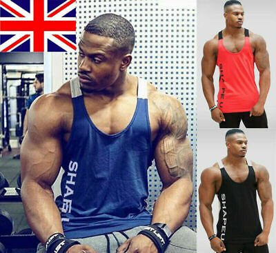 Gym Men's Muscle Sleeveless Tank Top Tee Shirt Bodybuilding Sport Vest UK SELLER