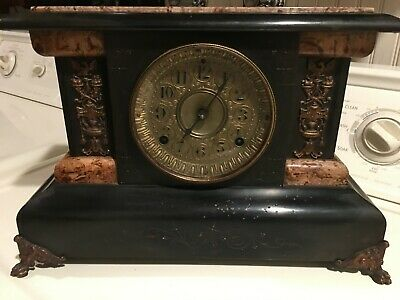 1880's Antique Seth Thomas Mantel Shelf Clock  Adamantine