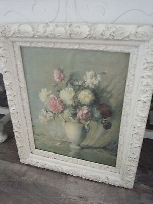 ~Gorgeous Antique Ornate Chippy Wood Gesso Framed Peonies Print Cottage Chic~