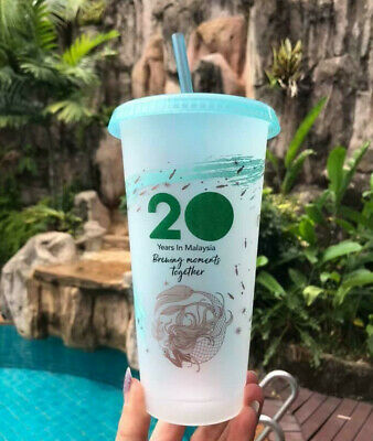 Starbucks Siren Mermaid Reusable Frosted Plastic Cold Cup Tumbler Venti 24oz NEW