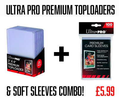 Ultra Pro Premium Top Loaders Card Sleeves Combo 100 Cards Sleeves 25 Toploaders
