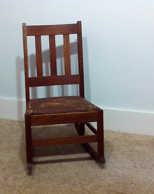 Vintage Arts & Crafts Oak Mission Sewing Rocker Rocking Chair