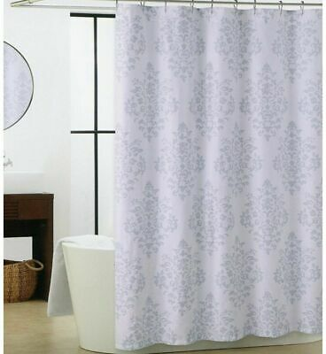 GRAY PALERMO FLORAL Scroll Paisley Fabric Shower Curtain - $12 99
