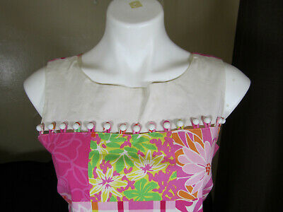 Vintage Lilly Pulitzer Beaded Sleeveless Signature Floral Maxi Dress Sz 4