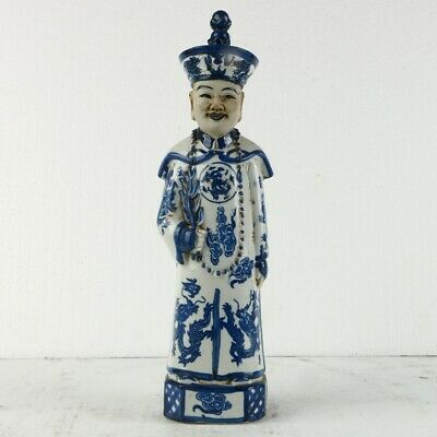 China Underglaze Colour Statue Blue and white Porcelain  Qing Dynasty Official M