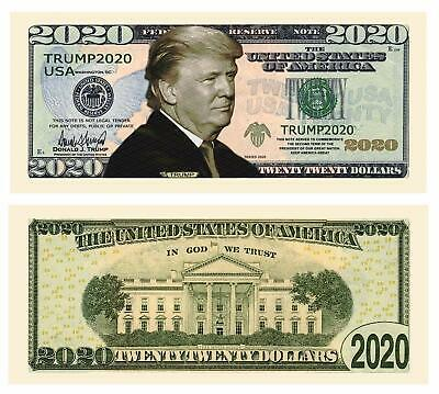 Trump 2020 Collectible Re-Election Campaign Dollar Bills Pack of 25