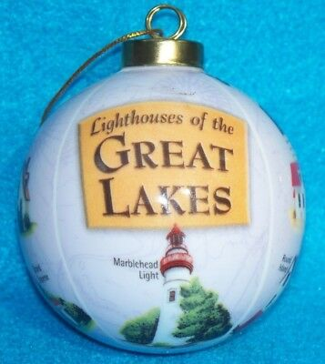 Lighthouses Of The Great Lake Glass Christmas Ornament Ball