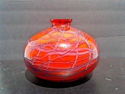 Large Signed Bohemian Kralik Art Deco Czech Art Glass Red Spider Web Vase