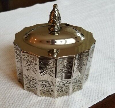 Godinger Silver Plate Jewelry Etched Trinket Box with Lid & Red Velvet Lining