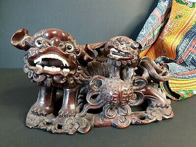 Old Chinese Carved Wooden Foo Dog Lion with Baby …beautiful collection and displ