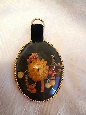 Vintage Dried Flowers Under Oval Frame Convex Bubble Glass Made in Italy