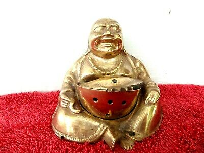 VINTAGE  BRASS  BUDA  WITH  AN  INCENSE  BURNER ON  HIS  LAP    8cm.