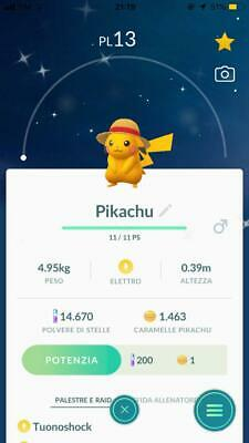 Shiny Pikachu one piece straw hat Pokemon Go limited ed. level 1 for COLLECTORS