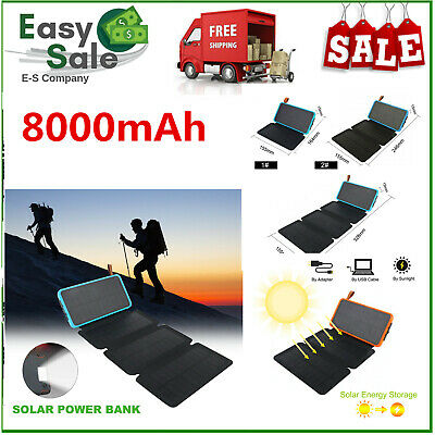 8000mAh Solar Power-Bank Portable Waterproof Solar Charger Dual USB Ports +Light