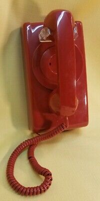 Cortelco ITT- No Dial Wall Mountable Red Telephone