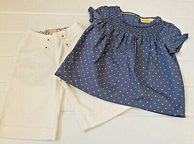 Mini Boden girls 4 Years Sweet Blouse Summer Top & Shorts Outfit Summer Holiday