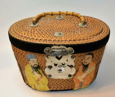 Unique Vintage or Antique Chinese wicker basket w silk figures bamboo handle