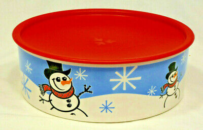 Tupperware One-Touch Cookie Canister Container - Snowmen - Red Seal - #3421- EUC