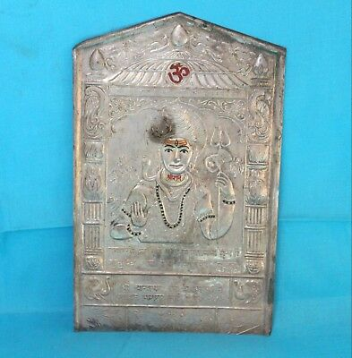 1800's Old Antique Copper Carved Silver Coated Hindu God Shiva Statue