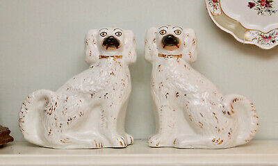 A Large Pair of Antique c19th Staffordshire Spaniels or Wally Dogs