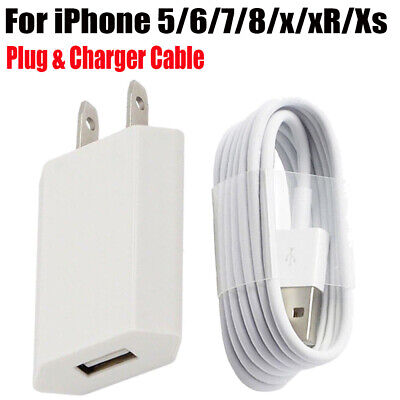 3/6/10ft USB Charger Cable Wall Charging US Plug For Apple iPhone 5s 6s 7 X 8 XR