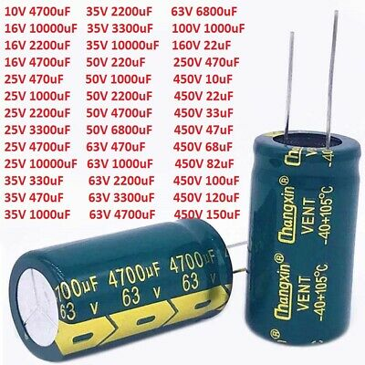 10V - 450V High Frequency Radial Electrolytic Capacitors LOW ESR 10uF to 10000uF