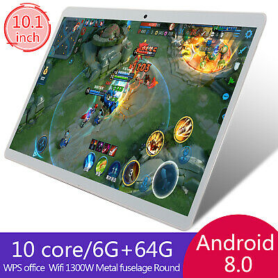 10.1 Inch HD Game Tablet Computer PC Android 8.0 6 + 64GB Dual Camera Tablet