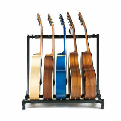 Folding Black 5 Way Multi Guitar Rack Stand Padded Electric Acoustic Bass Holder