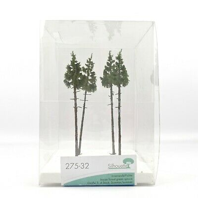 Silhouette Model Inner Forest Green Spruce Trees (x4) | Global Shipping