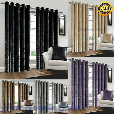 Crushed Velvet Curtains Pair of Eyelet Ring Top Fully Lined Ready Made Curtains