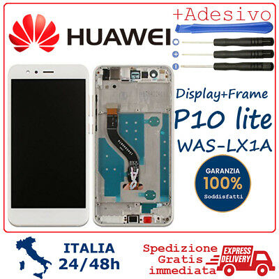 Display Touch Screen LCD Vetro Frame Per Huawei P10 Lite WAS-LX1A WAS-LX1 BIANCO