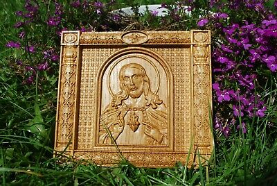 Wood Carved Christian Icon Religious Sacred Heart Of Jesus Wall Hanging Art Work