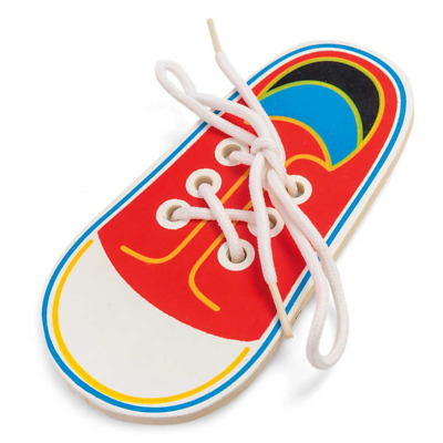 Wooden Lacing Shoe - 21914 Wood Lace Learn To Tie Shoes Practice Motor Skills