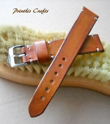 20 mm Vintage Tan Light Brown Genuine Leather Watch Strap Band Handmade in Italy