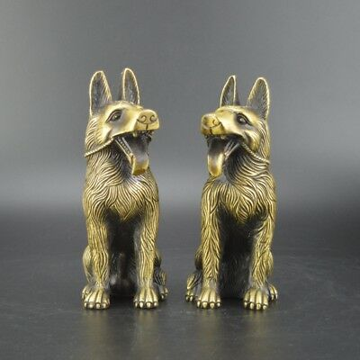 Chinese old collection handwork bronze A pair of Chinese Zodiac dog statue