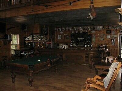 16 ft Antique Wood Saloon Bar w/ brass foot rail and sinks. Maybe 1880. $13,500