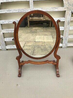 Antique, possibly Victorian, dressing table mirror mahogany oval