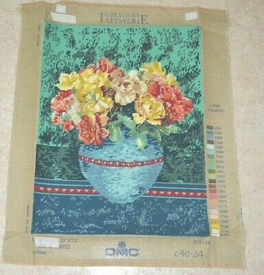 Flowers in Vase Pot Floral Tapestry Canvas Finished 47x 35cm DMC 1994