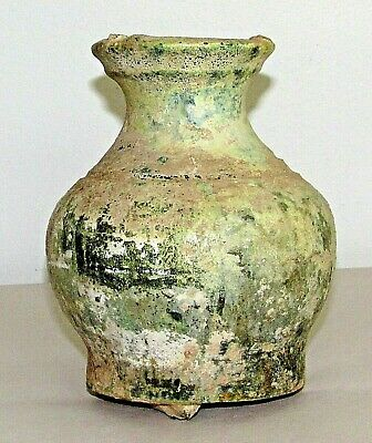 "Chinese Han Tomb Burial Pottery Pot Jar Green Glaze Ware c.210 AD / 4.5"" d x 6""h"