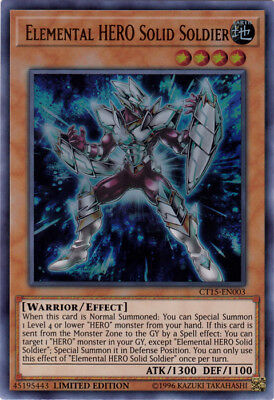 YuGiOh Elemental HERO Solid Soldier - CT15-EN003 - Ultra Rare - Limited Edition
