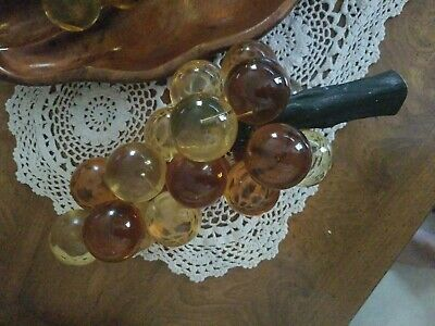 Vtg Mid Century Modern Amber Gold Acrylic Lucite Grapes Bunch Driftwood 12 inch