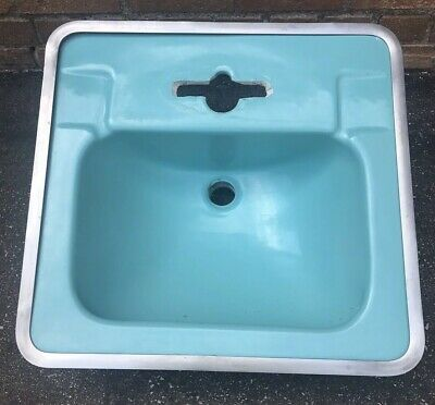 Vintage Turquoise Crane Westland Bathroom Sink Drop In w/Chrome Band MCM