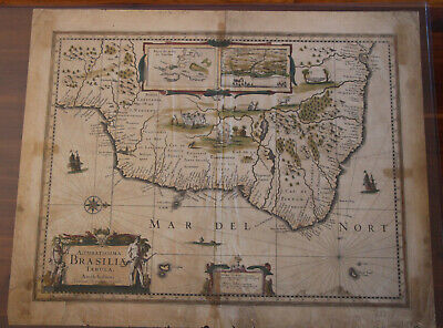 Antique 1636 Hondius map of Brazil - Original - Beautiful full color - Brasil