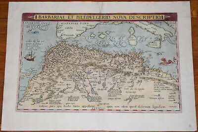 "1570 Ortelius map of North Africa - 19.7"" x 13"" - Antique - Superb color"