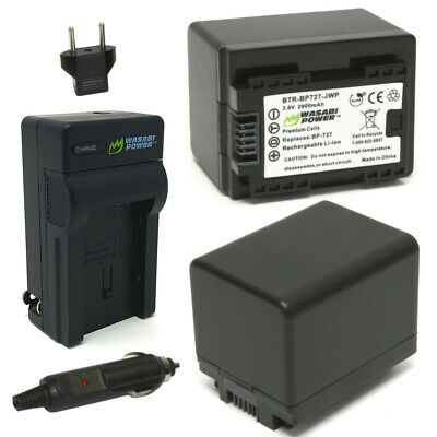 Wasabi Power Battery (2-Pack) and Charger for Canon BP-727, CG-700