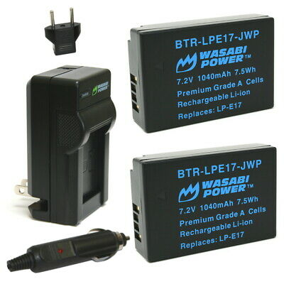 Wasabi Power Battery (2-Pack) and Charger for Canon LP-E17
