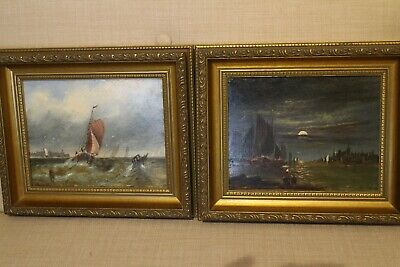 Pair 19th century Oil on board Dutch school seascape marine paintings