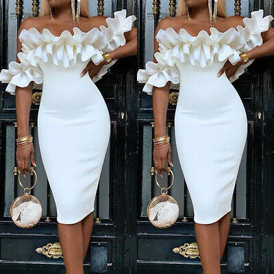 Womens Ruffle Frill Bodycon Dress Ladies Evening Party Prom Ball Gown Midi Dress