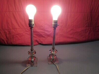 """Art Deco Style Pair (2) Two Tier Glass Table Lamps 13"""" each (no shades)"""