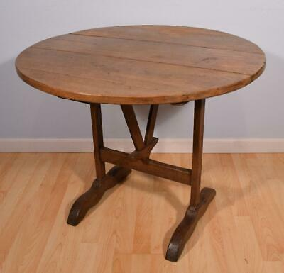 Antique French Wine Tasting Table/Side Table with Tilt Top in Solid Oak